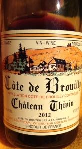 2012 Chateau Thivin, Cote de Brouilly, Cru Beaujolais